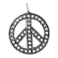 Rhodium Silver Peace Sign Diamond Charm 15mm