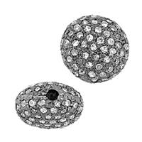 Rhodium Sterling Silver Button Diamond Bead U-2