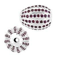 Rhodium Silver Ruby Accent Drop Bead