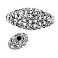 Rhodium Silver Oval Diamond Flat Bead V-2