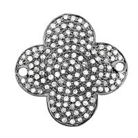 Rhodium Silver Clover Diamond Connector C-1