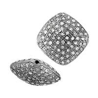 Rhodium Silver Pillow Diamond Bead W-2