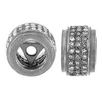 Rhodium Sterling Silver Rondel Diamond Bead O-11