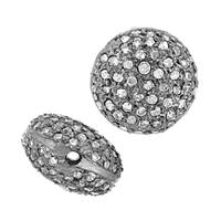 Rhodium Sterling Silver Button Diamond Bead U-3