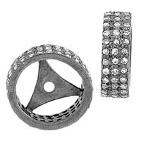 Rhodium Sterling Silver Rondel Diamond Bead O-12