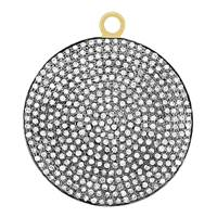 Rhodium Silver Diamond Disc Pendant 30mm