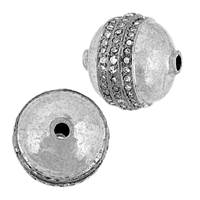 Rhodium Sterling Silver Ball Diamond Bead B-11