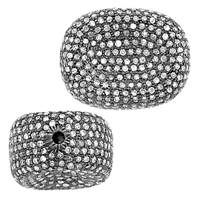 Rhodium Sterling Silver Hollow Diamond Bead