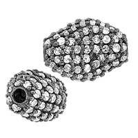 Rhodium Sterling Silver Oval Diamond Bead V-9