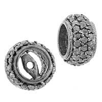 Rhodium Sterling Silver Rondel Diamond Bead O-7