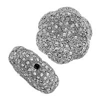 Rhodium Sterling Silver Flower Diamond Bead B-1