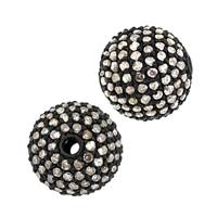 Rhodium Sterling Silver Ball Diamond Bead B-12
