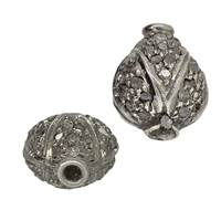 Rhodium Sterling Silver Pear Diamond Bead B-8