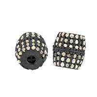 Rhodium Sterling Silver Barrel Diamond Bead B-11