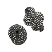 Rhodium Sterling Silver Diamond Twisted Bead B-1