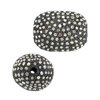 Rhodium Sterling Silver Nugget Diamond Bead B-4