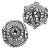 Rhodium Sterling Silver Scroll Ball Diamond Bead