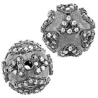 Rhodium Sterling Silver Ball Diamond Bead B-15