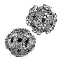 Rhodium Sterling Silver Ball Diamond Bead B-16