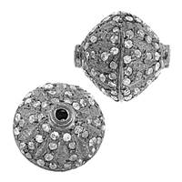 Rhodium Sterling Silver Bicone Diamond Bead B-2