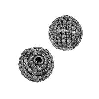 Rhodium Sterling Silver Diamond Ball Bead