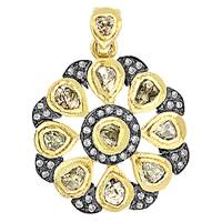 Rhodium Silver Diamond Flower Pendant 26mm