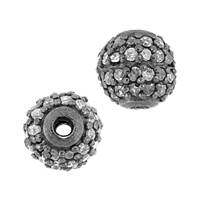 Rhodium Sterling Silver Ball Diamond Bead B-19