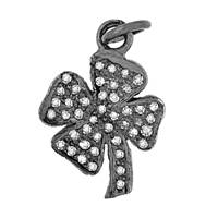 Rhodium Silver Lucky Clover Diamond Charm 17mm