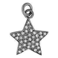 Rhodium Silver Star Diamond Charm 14mm