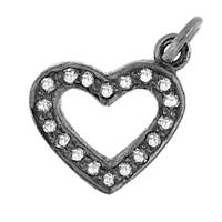 Rhodium Silver Heart Diamond Charm 14mm