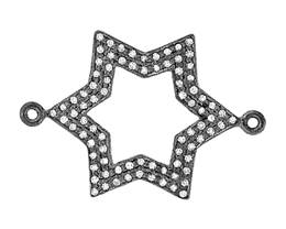 Rhodium Sterling Silver Diamond Star Centerpiece