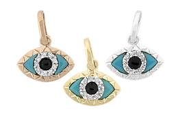 14K Diamond Evil Eye Charms
