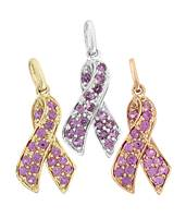 14K Diamond Breast Cancer Ribbon Charms (A)