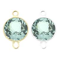 14K Gold Round Bezel Set Blue Topaz Connector