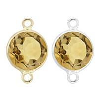 14K Gold Round Bezel Set Citrine Connector