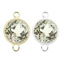 14K Gold Round Bezel Set White Topaz Connector