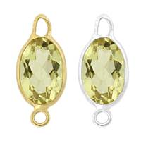 14K Gold Oval Bezel Set Lemon Quartz Connector
