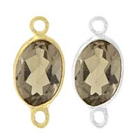 14K Gold Oval Bezel Set Smoky Quartz Connector