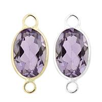 14K Gold Oval Bezel Set Amethyst Connector