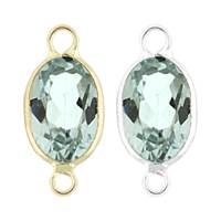 14K Gold Oval Bezel Set Blue Topaz Connector