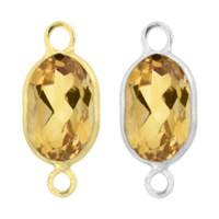 14K Gold Oval Bezel Set Citrine Connector