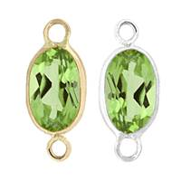 14K Gold Oval Bezel Set Peridot Connector