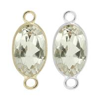 14K Gold Oval Bezel Set White Topaz Connector