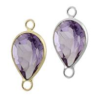 14K Gold Pear Bezel Set Amethyst Connector