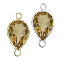 14K Gold Pear Bezel Set Citrine Connector