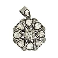 Rhodium Silver Diamond Flower Pendant 28mm