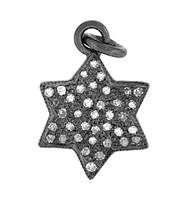 Rhodium Silver Jewish Star Diamond Charm 11mm