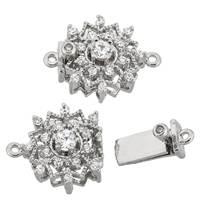 Rhodium Silver Snow Filigree Cubic Zirconia Clasp 12mm