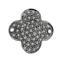 Rhodium Silver Clover Diamond Connector C-2