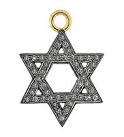Rhodium Silver Jewish Star Diamond Charm 24mm